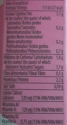 Bebida de soja ligera - Informations nutritionnelles - es