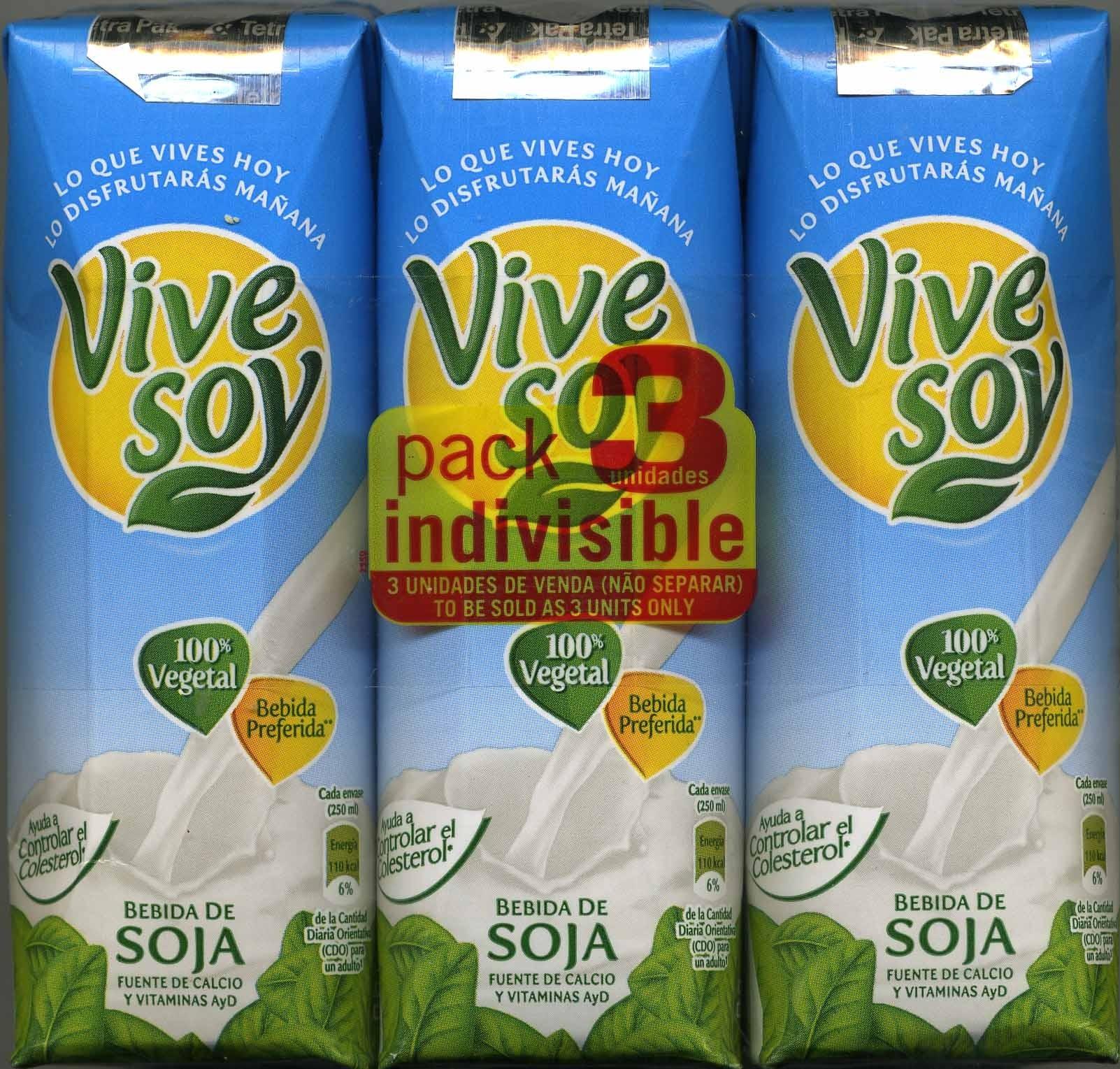 """Bebida de soja """"ViveSoy"""" Natural. Pack de 3 - Producte - es"""