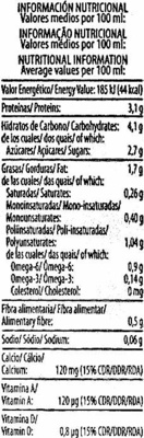 "Bebida de soja ""ViveSoy"" Natural. Pack de 3 - Informació nutricional - es"