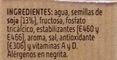 Bebida de Soja Sabor Intenso - Ingredientes