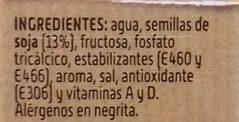 Bebida de soja sabor intenso alto contenido proteínas vegetales - Ingredients - es