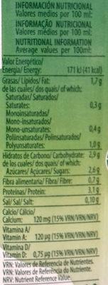 Bebida de soja sabor original - Información nutricional
