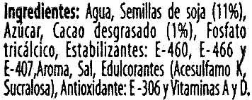 """Bebida de soja """"ViveSoy"""" Chocolate - Ingredientes"""