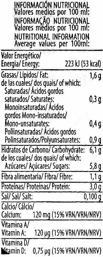 Bebida de soja sabor chocolate - Voedingswaarden - es