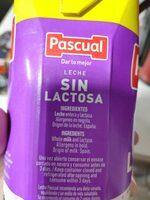 LECHE SIN LACTOSA - Ingrédients - es