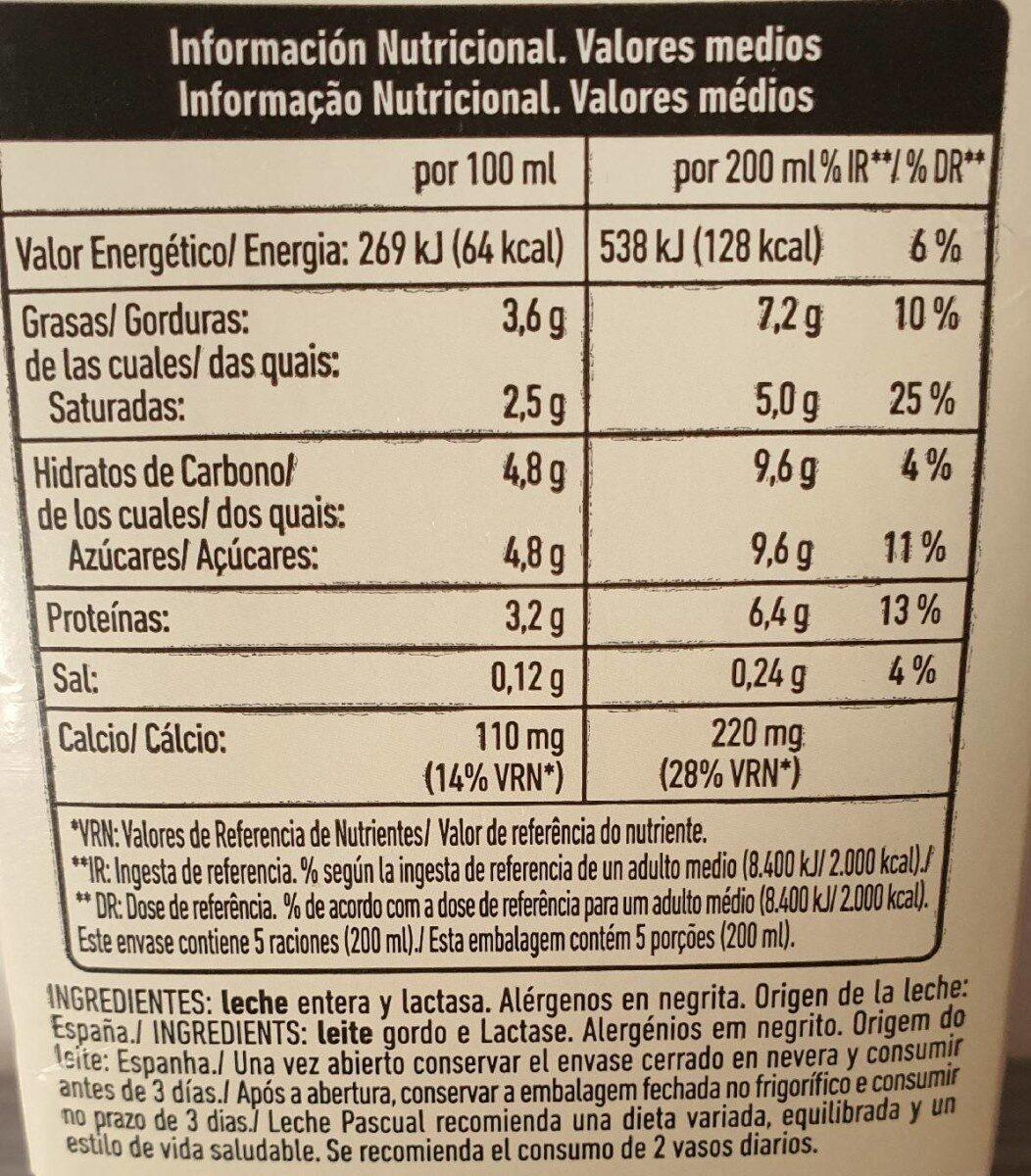 LECHE SIN LACTOSA - Informations nutritionnelles - es