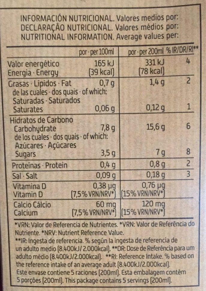 Bebida de Quinoa y Arroz - Información nutricional - es
