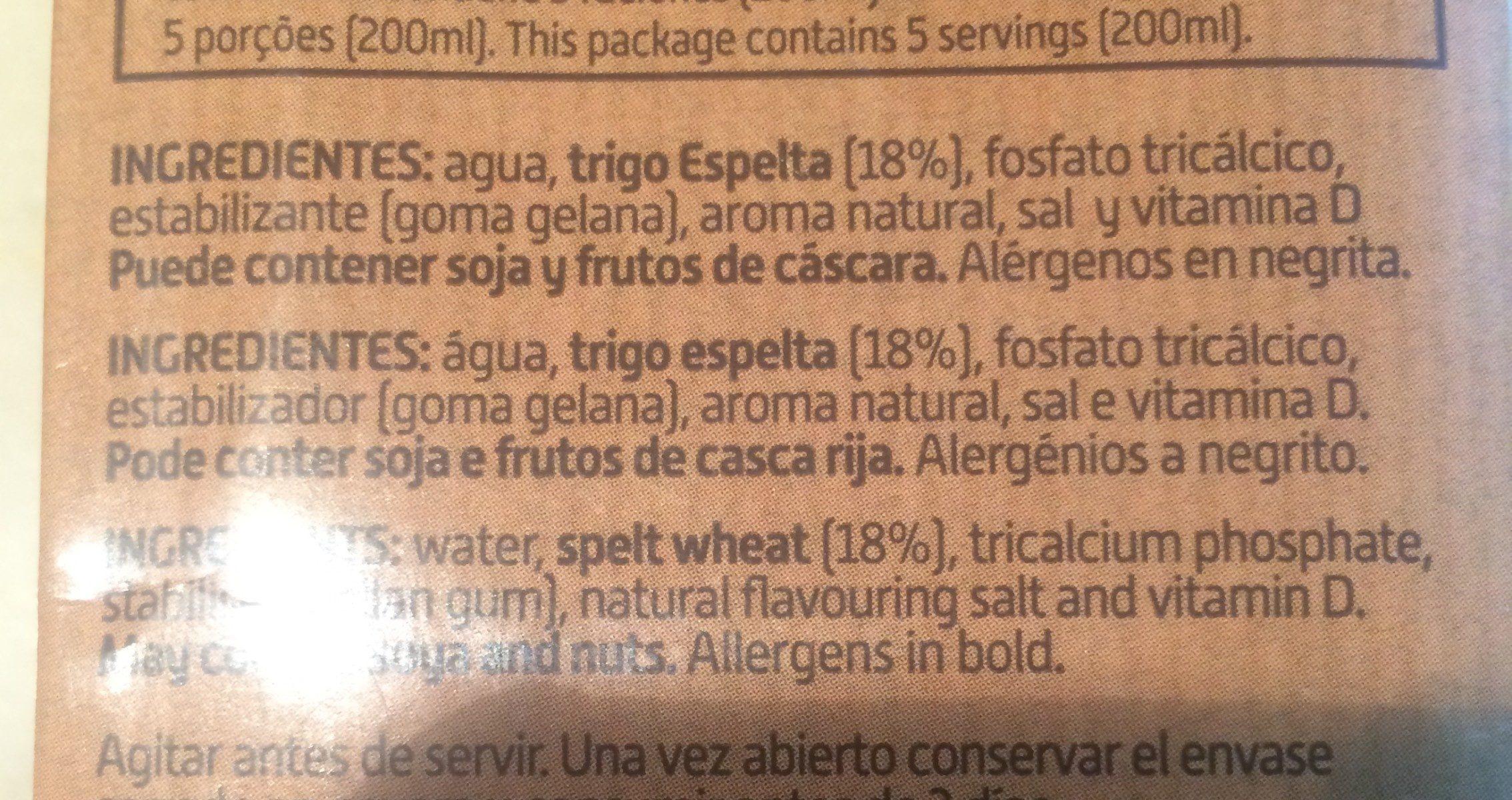 Bebida de espelta - Ingrédients - fr