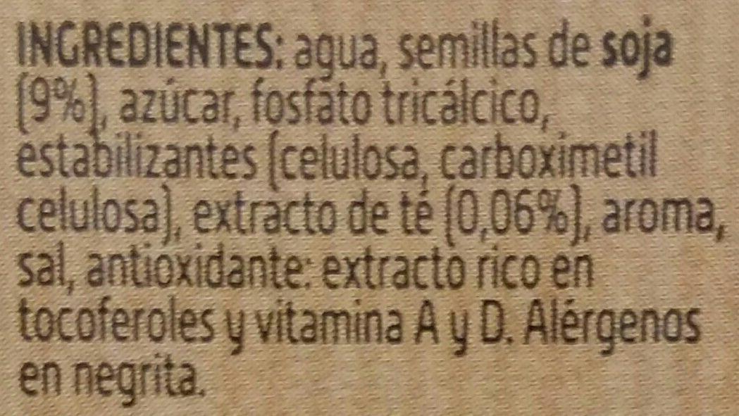 Bebida de Soja con Té Negro - Ingredientes