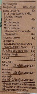 Bebida de Soja con Té Verde - Información nutricional