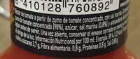Zumo de tomate - Informations nutritionnelles - es