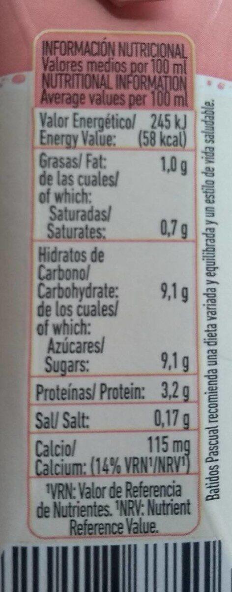 Batido sabor fresa - Informations nutritionnelles - es