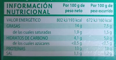 Rianxeira MUSCL.14-18 - Nutrition facts - es