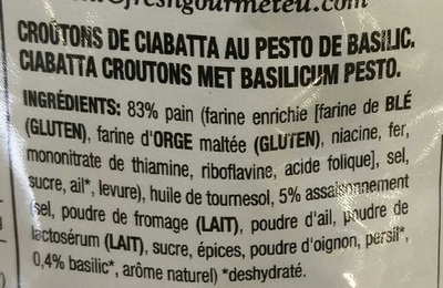 Croutons au pesto pain ciabatta - Ingredienti - fr