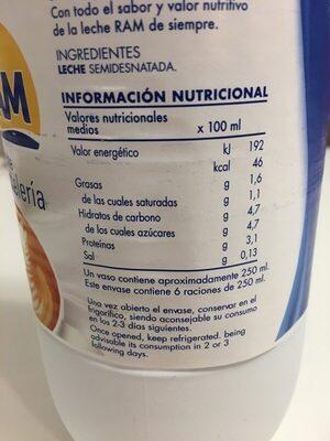 Leche RAM - Voedingswaarden - es
