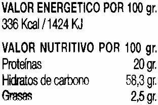 Alubias negras - Informació nutricional