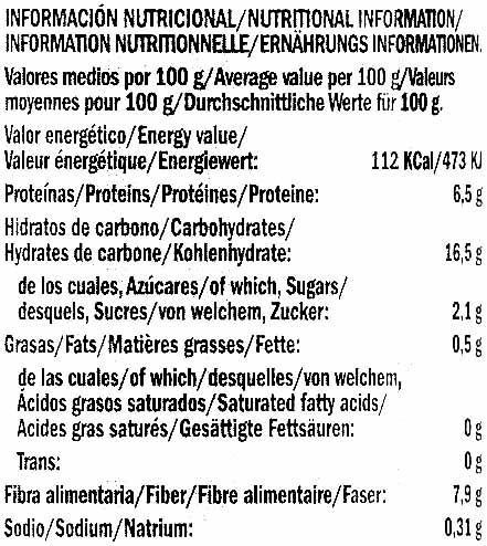 Judiones cocidos en conserva Tipo Granja - Información nutricional - es