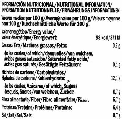 Alubias rojas - Informació nutricional