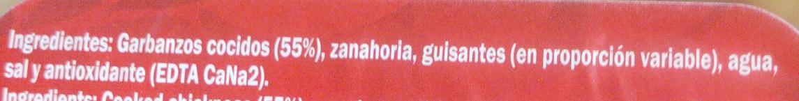 Garbanzos con guisantes y zanahoria - Ingredients