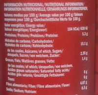 Garbanzos con guisantes y zanahoria - Informació nutricional
