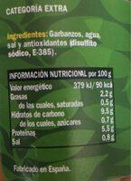 Garbanzos cocidos al natural - Información nutricional - es