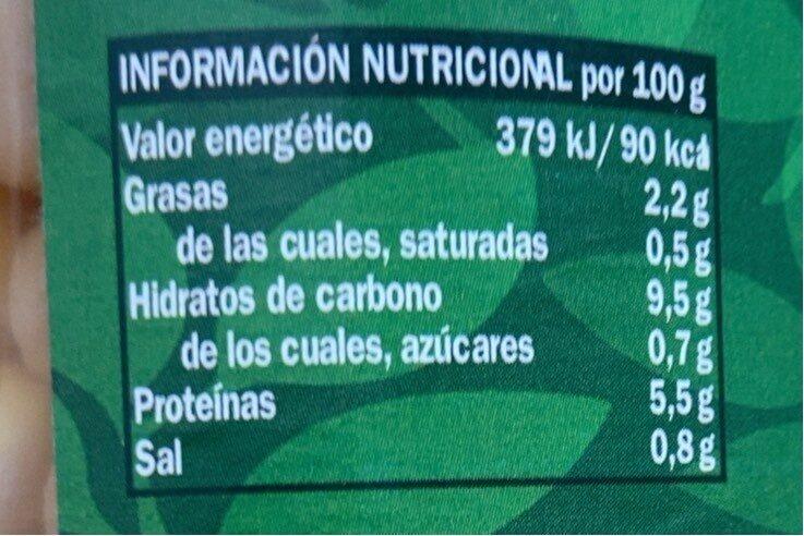 Garbanzos cocidos al natural - Nährwertangaben - es
