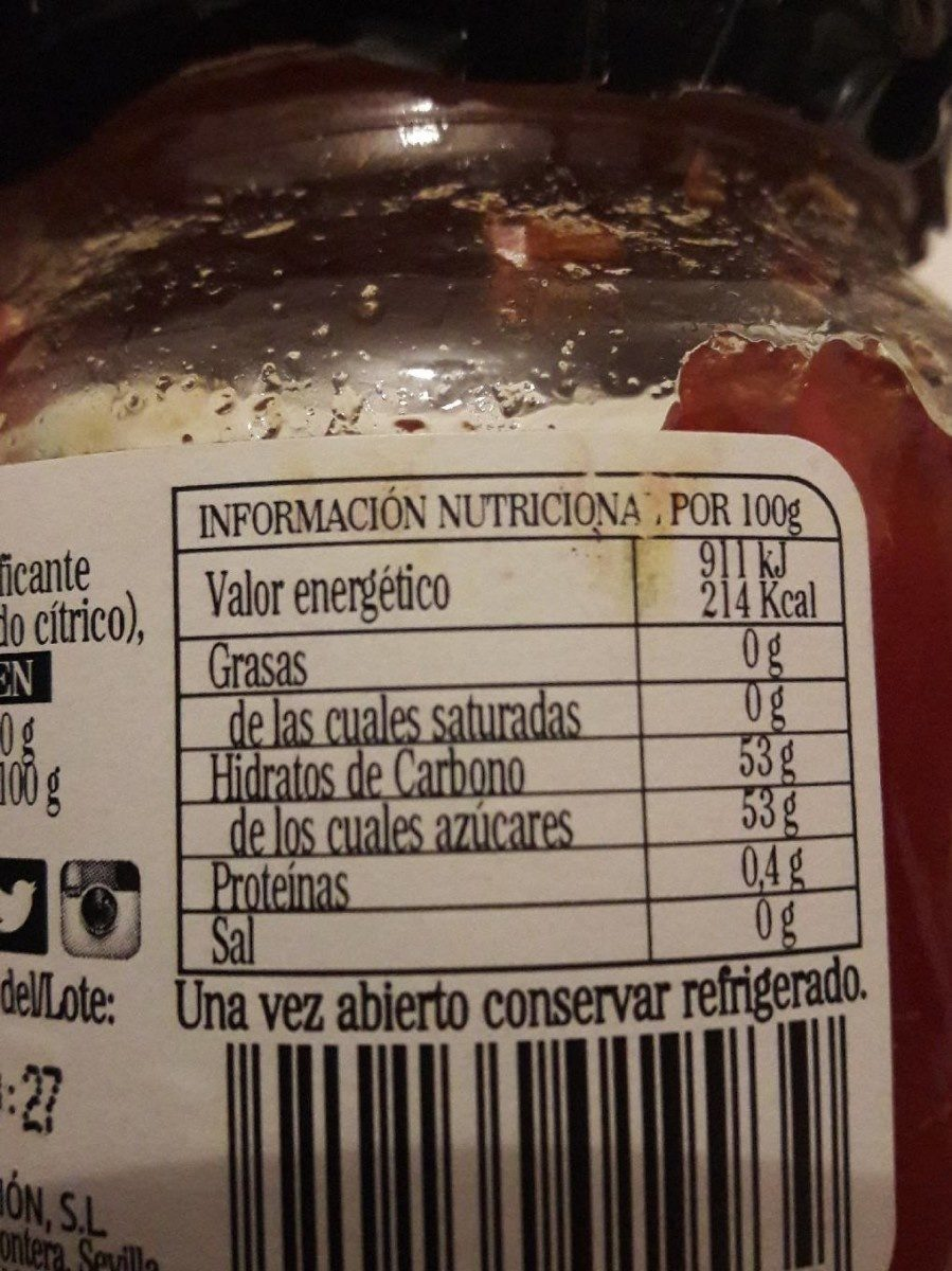 Mermelada de Tomate - Información nutricional