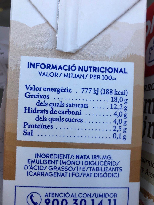 Nata De Cuina Bric De Ato - Información nutricional
