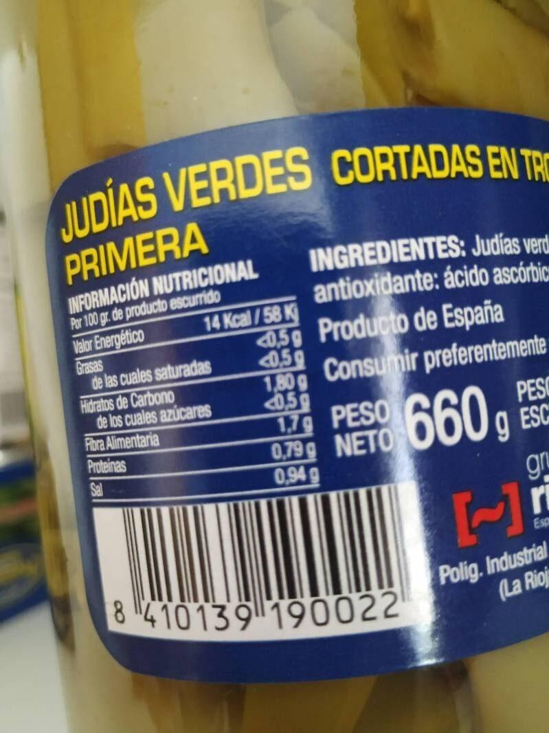 Judias Verdes - Nutrition facts