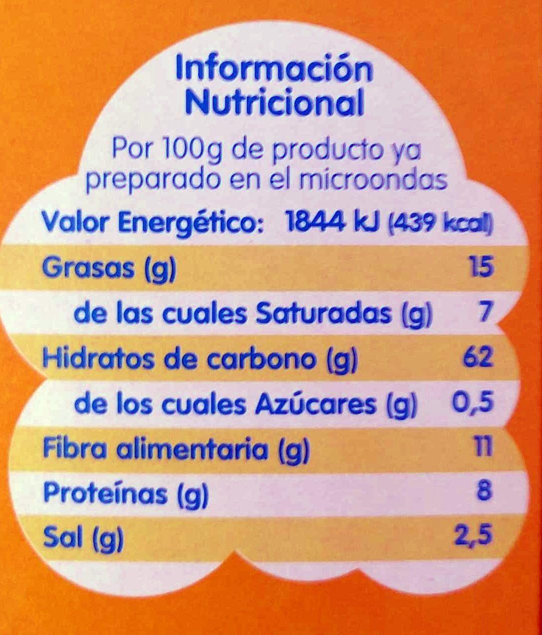Sabor natural con sal palomitas para microondas pack 3x100 g estuche 300 g - Información nutricional