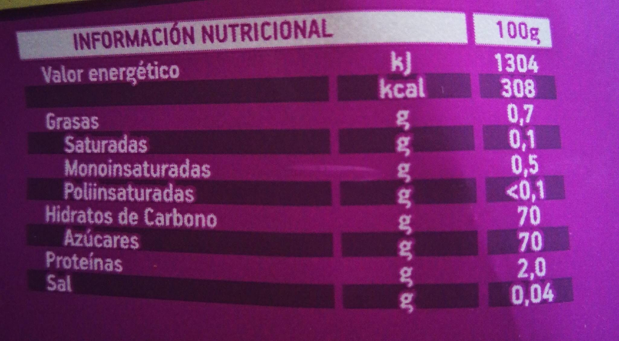 Pasas de California sin pepitas estuche 150 g - Informations nutritionnelles