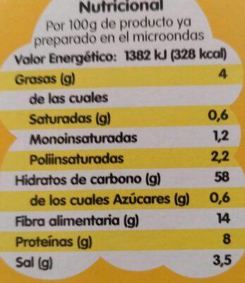 Popitas zero - Voedingswaarden - es