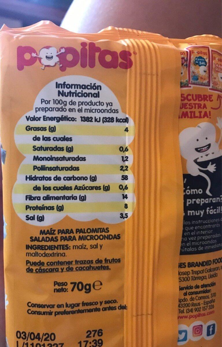 Palomitas Popitas Zero - Información nutricional - es