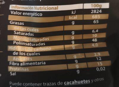 Pizarro nueces en grano bolsa 160 g - Informations nutritionnelles