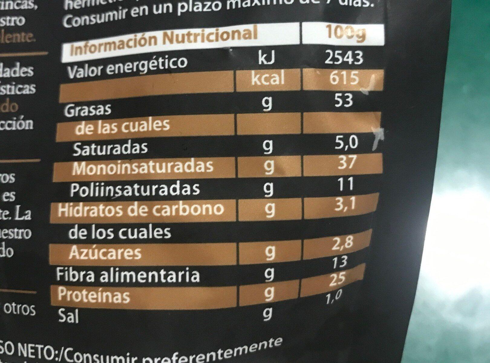 Pizarro almendra marcona bolsa 160 g - Informations nutritionnelles