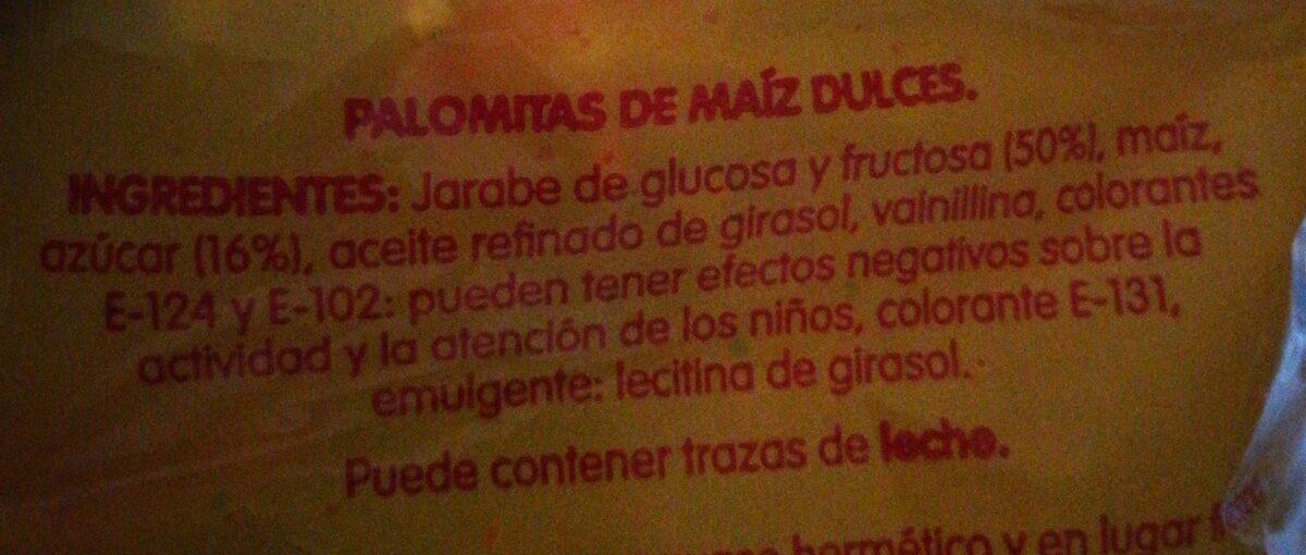 Popitas Palomitas Expansionadas Dulces - Ingredients