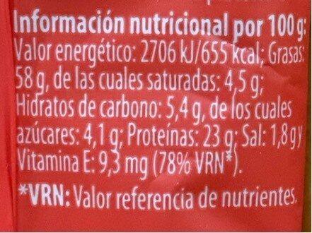 Almendras al punto de sal - Información nutricional - es
