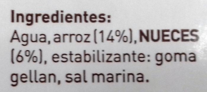 Natura bebida de nuez vegetal lactosa sin gluten - Ingredients