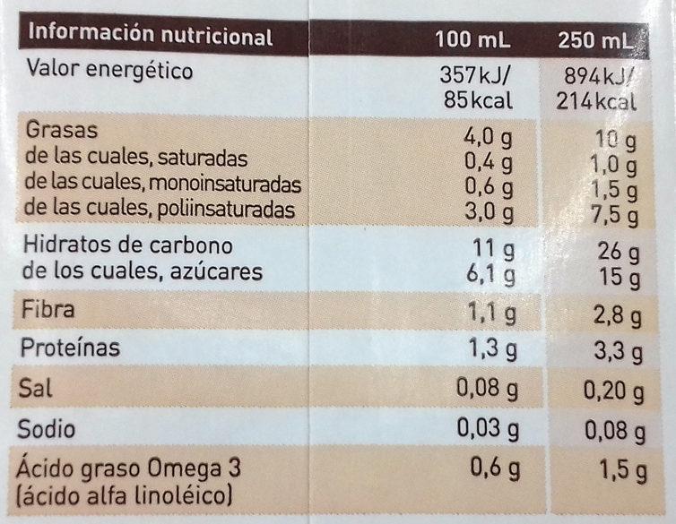 Natura bebida de nuez vegetal lactosa sin gluten - Nutrition facts