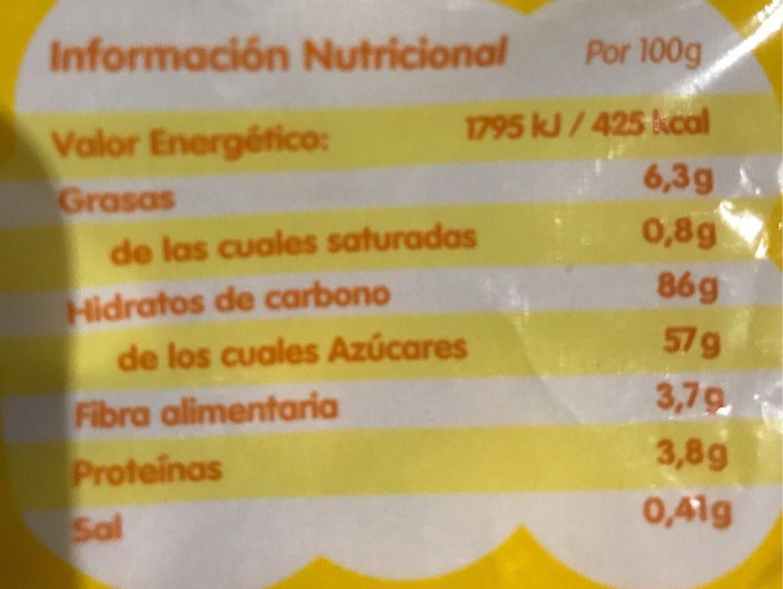 Palomitas bañadas caramelo sin gluten - Valori nutrizionali - es