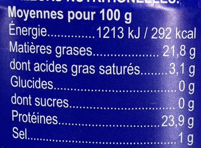 Thon à l'huile de tournesol (émietté) - Voedingswaarden - fr