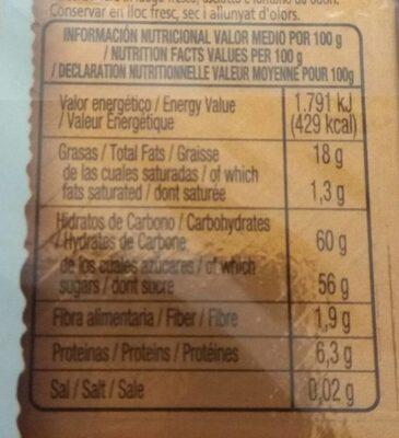 Turrón de fruta - Información nutricional - es