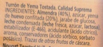 Turrón Yema Tostada - Ingredientes - es