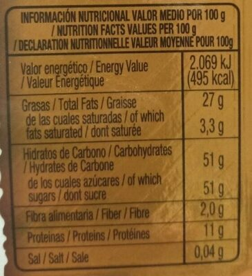 Turrón Yema Tostada - Información nutricional - es
