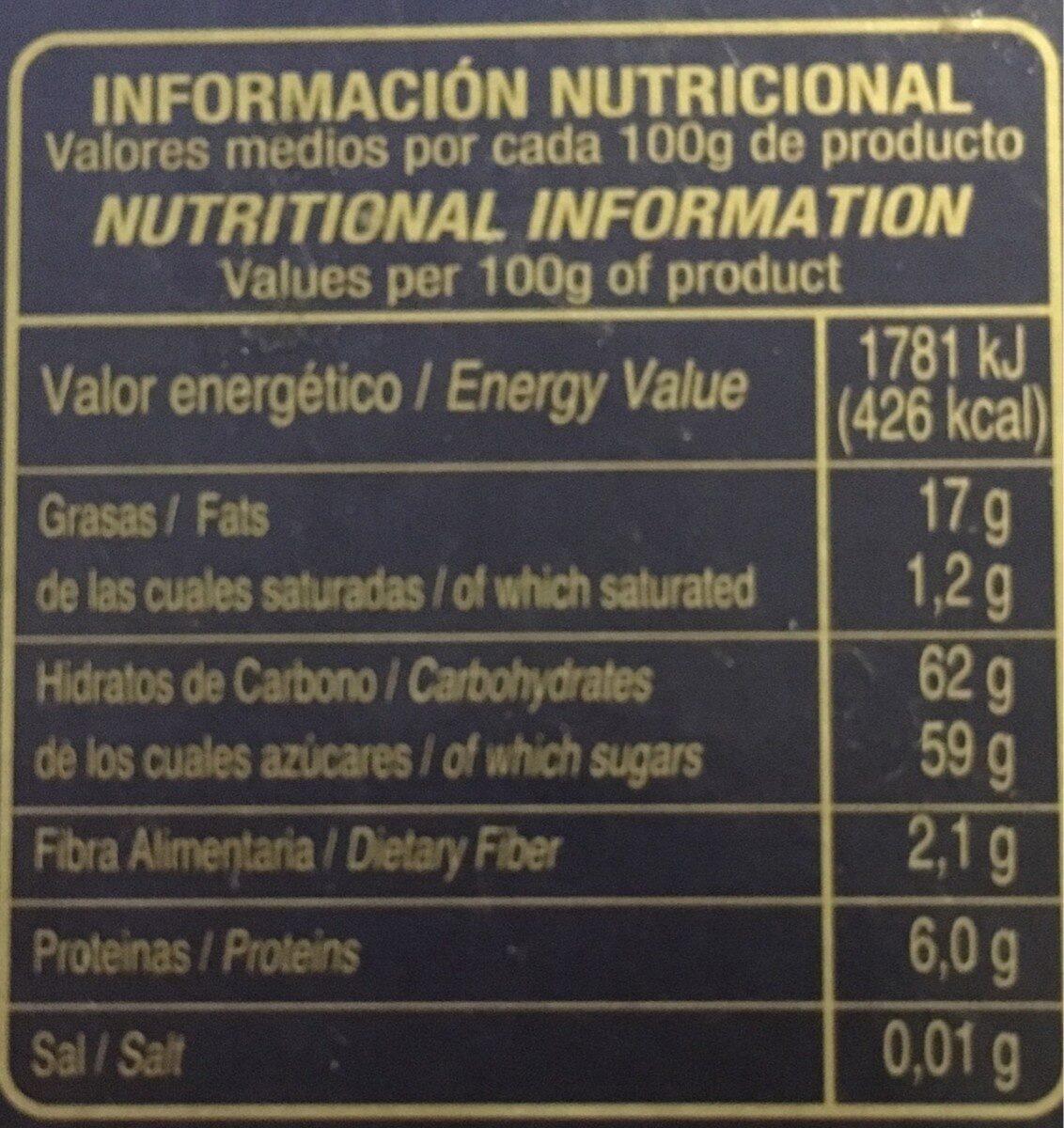 Turrón fruta - Nutrition facts