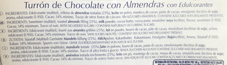 Turron de Chocolate con Almendras - Ingrediënten