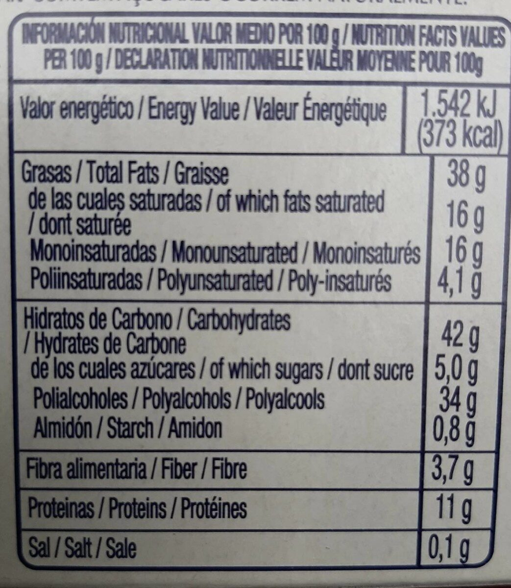 Turron de Chocolate con Almendras - Informations nutritionnelles - fr