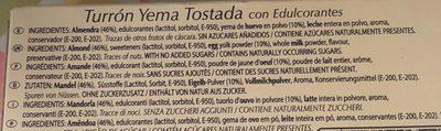 Turrón Yema Tostada - Ingrediënten - fr