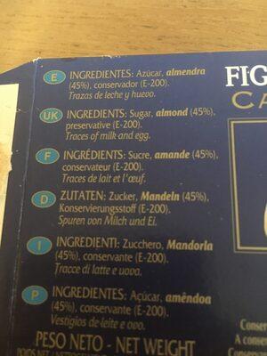 Figuritas de Mazapán - Ingrediënten - fr