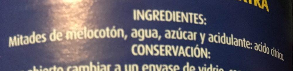 Melocotón en almíbar - Ingrédients - es